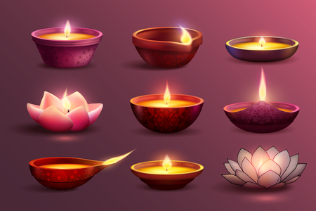Diwali celebration set with decorative colourful images of burning candles with different pattern and shape. Ilustracja