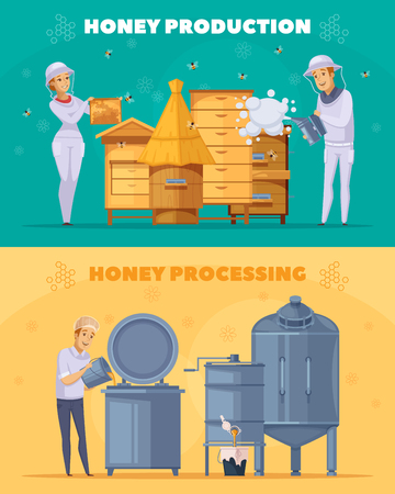 Apiary bee production 2 cartoon horizontal banners set with honey harvesting and pasteurization. Illustration