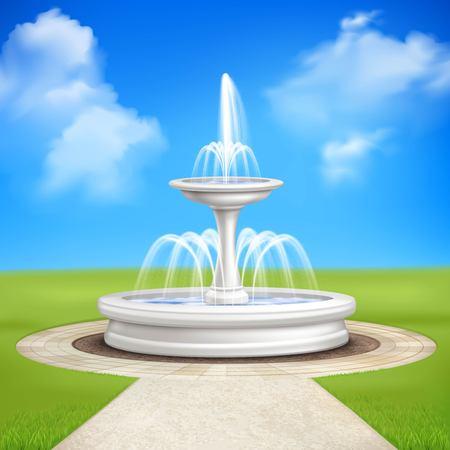 Fountain in garden at blue sky