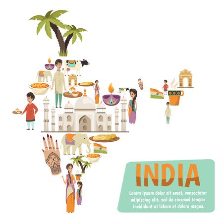 유명한 인도 랜드 마크를 설명하는 장식 아이콘으로 이루어진 추상 인도지도. 일러스트