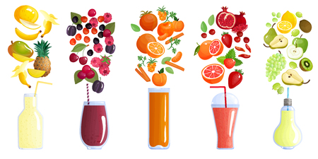 Smoothie colored isolated composition with five icon set and recipes of smoothie. Illustration