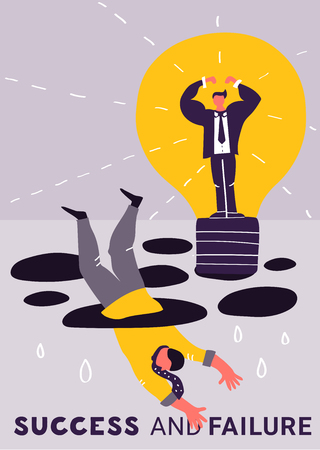 Failure success business poster with two people are engaged in the struggle for supremacy vector illustration