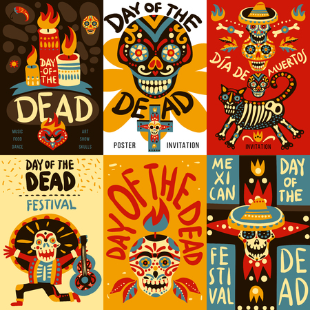 Day of dead mexican national festival symbols emblems 6 colorful banners set with skulls. Illustration