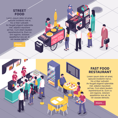 Fast food horizontal banners with people in restaurant Illustration