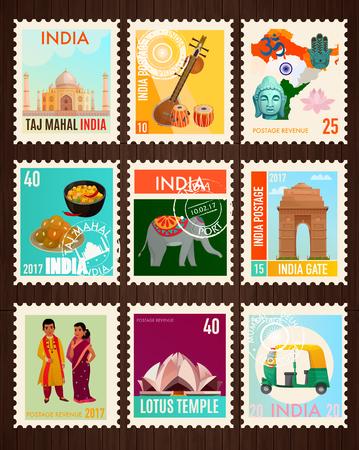 전통적인 기호와 검은 배경에 고립 된 인도의 유명한 명소 세트 다채로운 여행 스탬프 카드 만화 벡터 일러스트 레이 션 일러스트