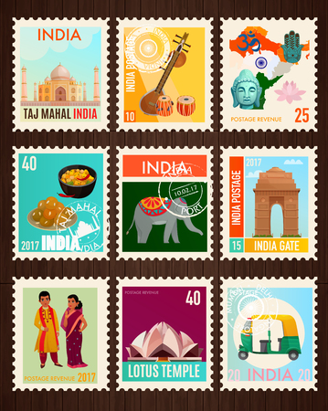 Colorful travel stamp cards set with traditional symbols and famous sights of india isolated on black background cartoon vector illustration
