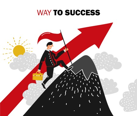 Flat colored success business composition with man aspires up the career ladder vector illustration