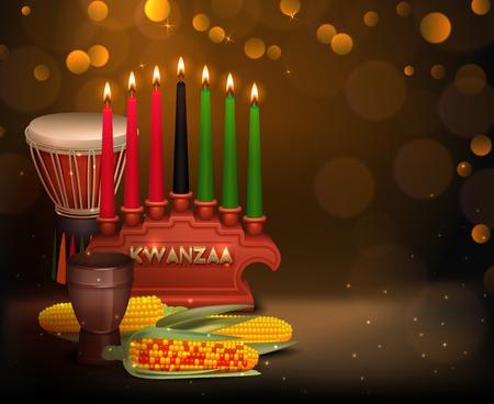 Affiche de fond fête kwanzaa afro-américaine fête avec brûler des bougies de kinara et bulles lumière brillante Banque d'images - 88363066