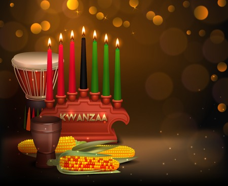 African american kwanzaa holiday celebration festive background poster with burning kinara candles and shiny light bubbles vector illustration