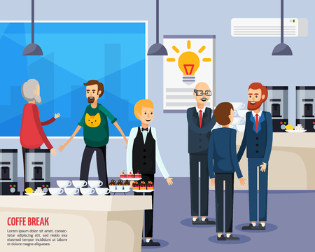 Coffee break orthogonal flat composition with office staff, waiter near table with cups and dessert vector illustration Illustration