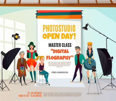 Photo studio ad poster with people in various clothing and professional equipment on light background vector illustration Banco de Imagens - 88540157