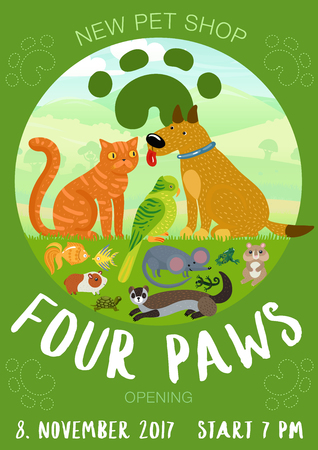Pet shop advertising poster with paw prints, cat and dog, fishes, rodents on green background vector illustration