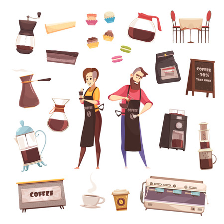 Coffee house decorative icons set of barmaid and barista characters automatic coffee machine aeropress coffee maker cezve french press elements flat vector illustration Illustration