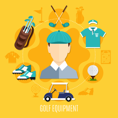 Golf equipment round composition with player, sportswear, ball, bag with clubs, car on yellow background vector illustration Illustration