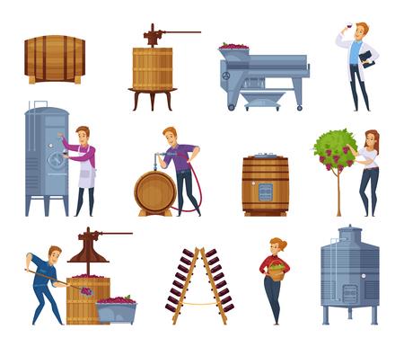 Los iconos de la historieta del proceso de producción del lagar fijaron con la vendimia de la uva que machacaba prensar el vino de fermentación que envejecía el ejemplo aislado del vector Foto de archivo - 88540160