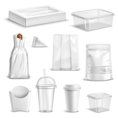 Blank glossy realistic set of food packaging containers and takeaway refreshments mug coffee cup templates isolated vector illustration