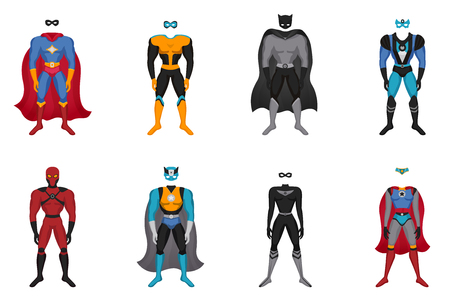 Set of male and female colorful costumes for superhero with cloak and mask isolated vector illustration