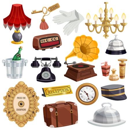 L'icona d'annata colorata ed isolata del personale dell'hotel ha messo con gli attributi e gli elementi degli strumenti nell'illustrazione di vettore dell'hotel Archivio Fotografico - 88540161