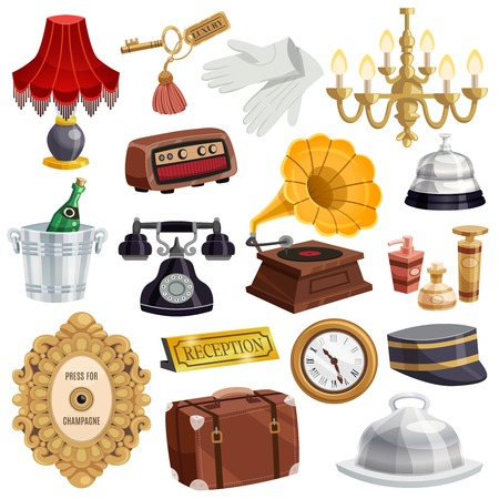 Colored and isolated vintage hotel staff icon set with attributes and elements of tools in hotel vector illustration