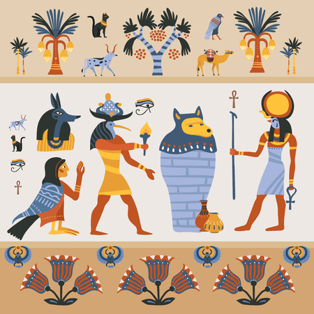 Ancient egyptian religion design on light background with gods, hieroglyphs, palm trees, decoration from flowers vector illustration