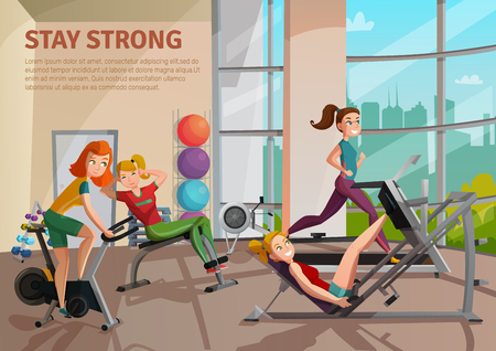 Girls doing fitness on treadmill, bike, bench in exercise room with big window, colorful balls vector illustration Illustration