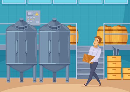 現代蜂ファーム蜂蜜生産・ろ過施設ハニカム漫画組成ベクトル図を運ぶ養蜂家