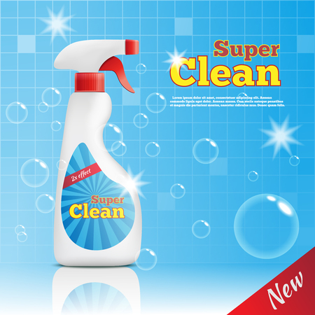 Detergent bottles realistic composition of cleaning product package with bubbles bathroom wall tiles and editable text vector illustration