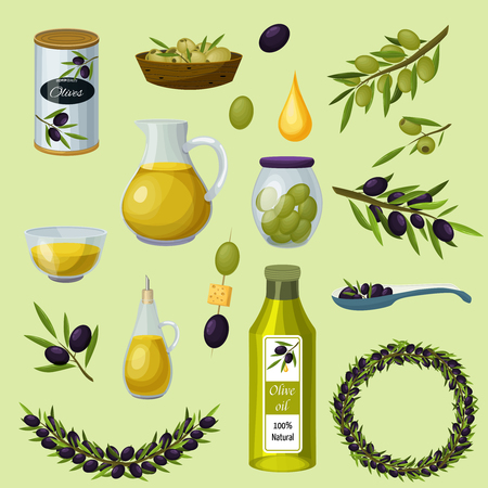 Green and black olives healthy products cartoon icons with bottle virgin traditional cooking oil background vector illustration