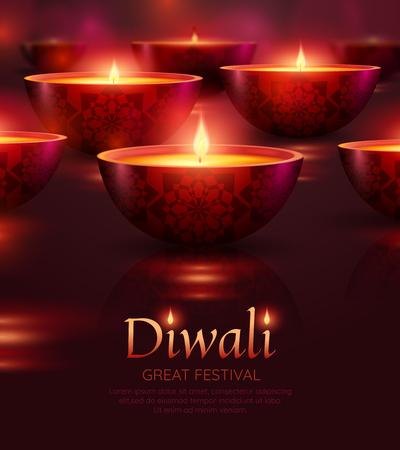 De vieringsaffiche van Diwali met het branden van olielampen van diverse vorm op achtergrond isoleerde vectorillustratie