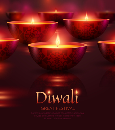 Diwali celebration poster with burning oil lamps of various shape on background isolated vector illustration Ilustrace