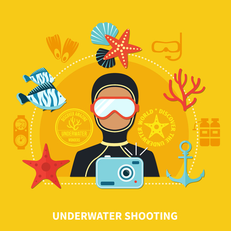 Underwater shooting composition including diver with camera and marine wildlife elements on yellow background vector illustration Illustration