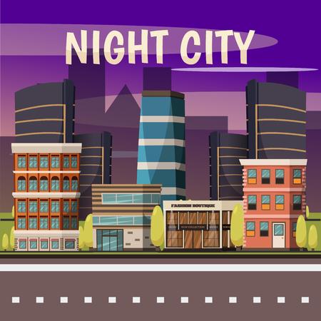 Nachtstadthintergrund mit moderner hoher Aufstiegsgebäudeboutique und flacher Vektorillustration des Restaurants Standard-Bild - 88540245