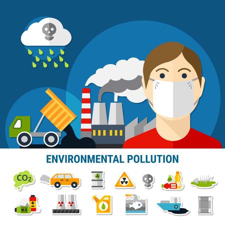 Cartel de contaminación ambiental y ecología con símbolos de contaminación de aire y agua ilustración de vector plano aislado