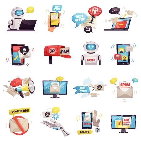 Mail spam bot icons set of robot gadget envelope malware best offer ad isolated cartoon vector illustration Illustration
