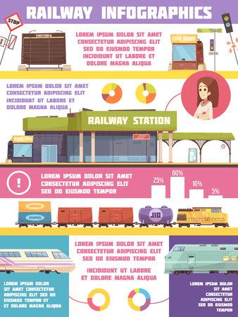 Railway infographics flat template with  freight and passenger transportation statistics modern trains symbols vector illustration Illustration