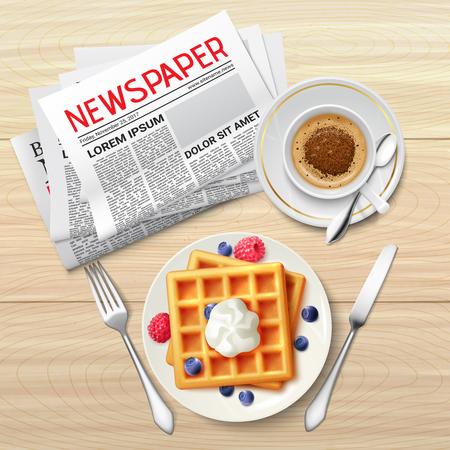 Ochtendkop van koffieplaat van toosts en krant op houten lijst realistische vectorillustratie als achtergrond