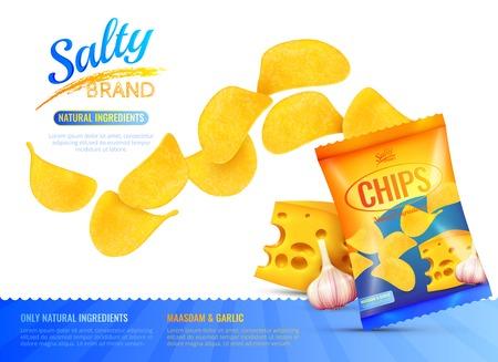 塩味のスナック チップのチーズと編集可能なテキストのベクトル図とニンニクのブランド製品パッケージのリアルな画像とポスター