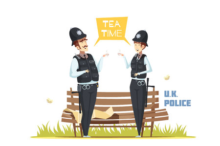 Couple of male and female police officers having tea break in urban environment cartoon vector illustration