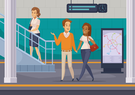 Metro underground station with  staircase subway lines map display and passengers on platform cartoon composition vector illustration Illustration