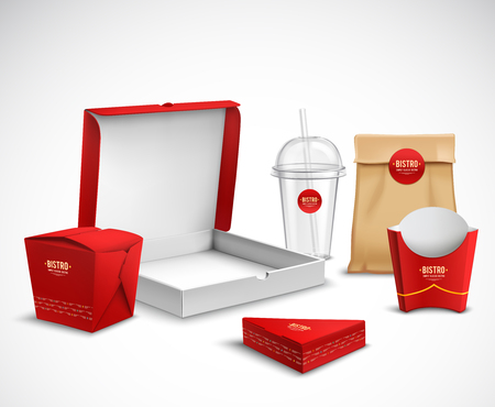 Fast food packaging corporate identity realistic templates samples set red white natural with pizza box vector illustration Imagens - 88540334