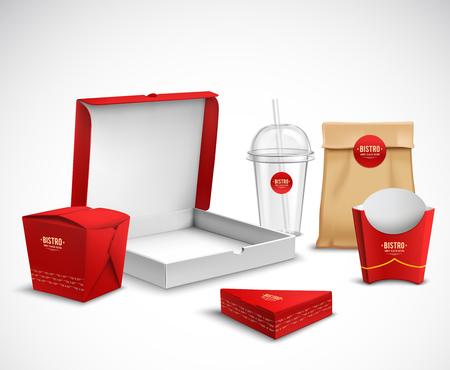 I campioni realistici dei modelli di identità corporativa d'imballaggio di alimenti a rapida preparazione hanno messo bianco rosso naturale con l'illustrazione di vettore del contenitore di pizza