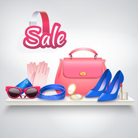 オンライン ショッピングの様々 な女性のアクセサリーと現実的な構成太陽ゴーグル高いヒールの靴やバニティ バッグ ベクトル イラスト  イラスト・ベクター素材