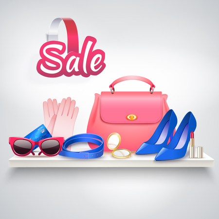 Online shopping realistic composition with various female accessories sun goggles high heel shoes and vanity bag vector illustration