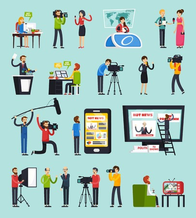 Creating news, set of orthogonal flat icons with reporter, photographer, sound man, blogger, editor isolated vector illustration Illustration