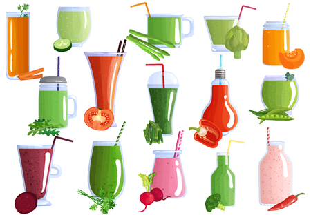 Set of vegetable smoothies from carrot, asparagus, beet, parsley, radish in glasswares with straws isolated vector illustration