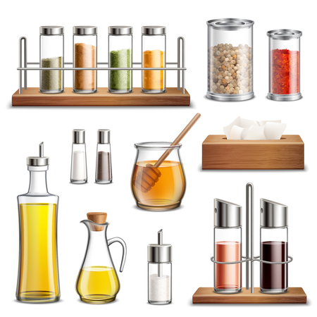 Kitchen herbs and spices rack cooking oil carafe bottle sugar dispenser and honey jar realistic set vector illustration Çizim