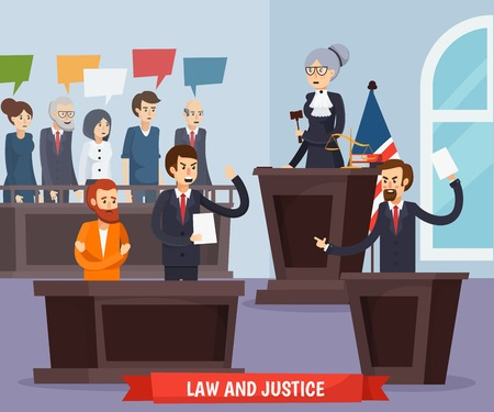 Orthogonale Zusammensetzung des Gerichtes einschließlich Richter mit Hammer, Ankläger, Anwalt und Angeklagten, Jury und Innenelementvektorillustration