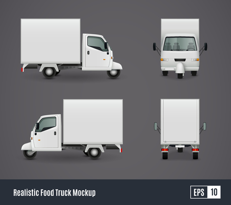 three wheeler: Food trucks realistic ad template mockup set with isolated views of three wheeler van commercial vehicle vector illustration