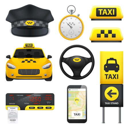 Taxi sign set of isolated motor cab driving wheel taximeter smartphone with application and driver cap vector illustration