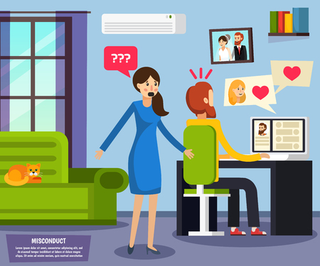 Orthogonal flat composition with unhappy wife and husband talking with girl friend by computer vector illustration